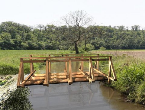 DIY Wooden bridge construction project in '400 Old Style'