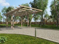 Gazebo tetto piano con archi 390x600