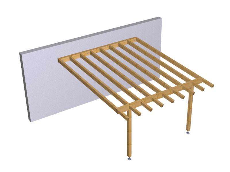 Progetto per costruzione gazebo type 4 a muro 400x510 diy for Progetto gazebo in legno pdf