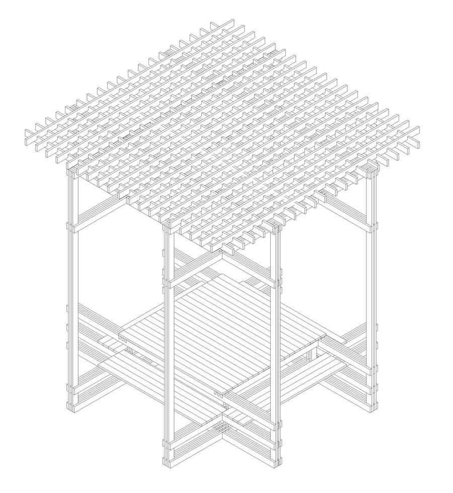Progetto per costruzione di struttura di legno tavolo e for Progetto gazebo in legno pdf