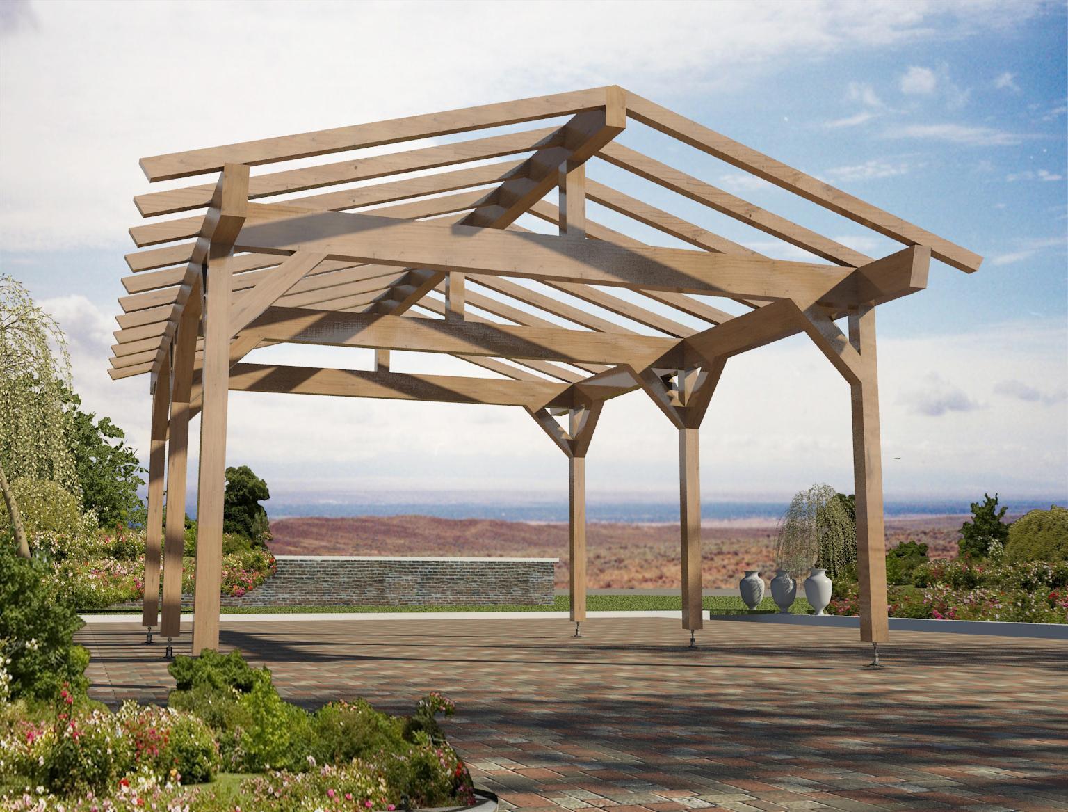 Gazebo con tetto spiovente 490 x 600 gsat 01 for Gazebo in legno usato